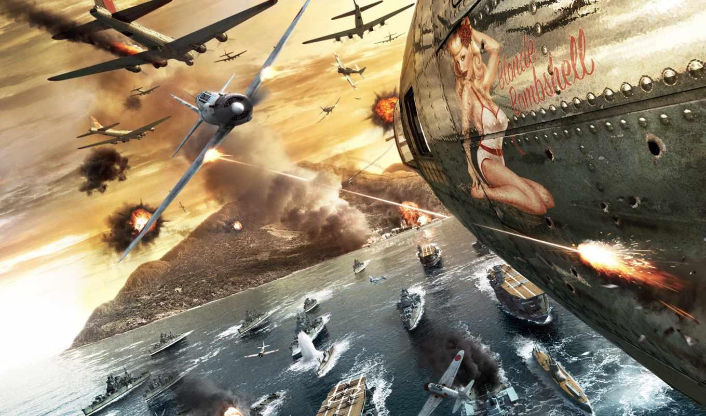 battlestations, pacific, самолет, девушка, война, бой, игра,