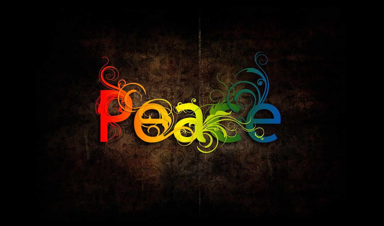 peace, чёрный, разноцветный, надпись, графика