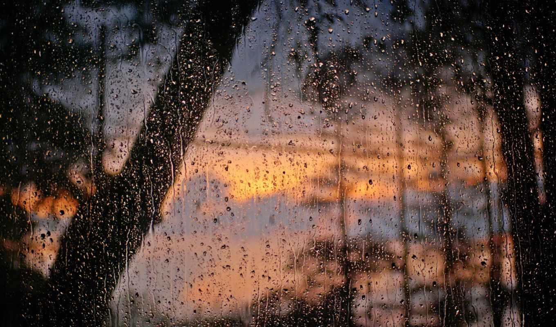 дождя, окно, стекло, после, вода, капли,