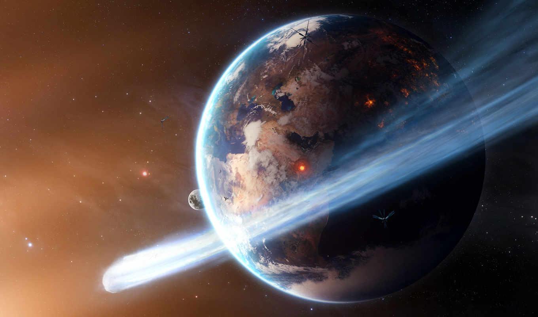 космос, земля, планета, звезды, комета, огонь, спутники,