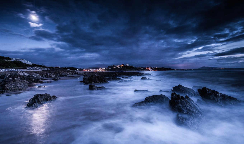 ночь, море, луна, тучи, берег, скалы,