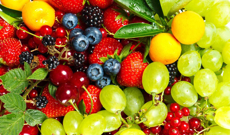 фрукты, ягоды, клубника, еда, виноград,
