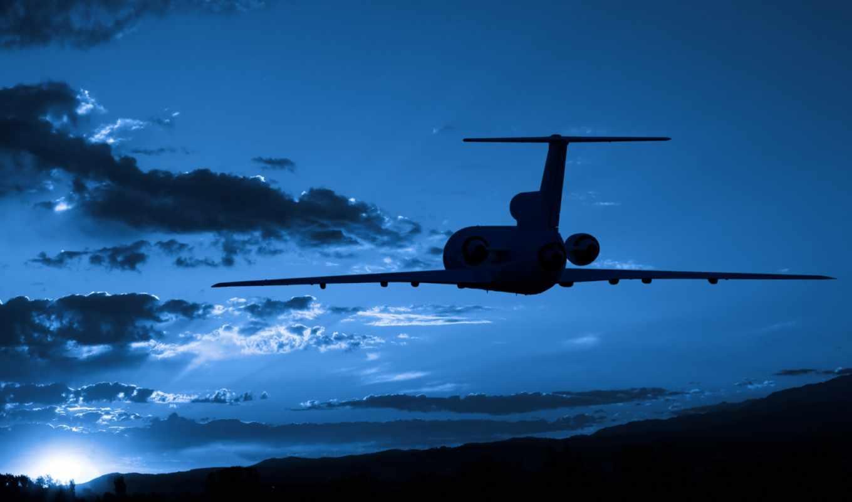 небе, небо, самолёт, самолета, силуэт,