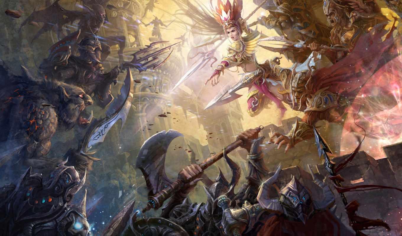 против, монстры, рыцарей, фоновые, девушка, рисунки, fantasy, заставки, рыцари, зомби, world,