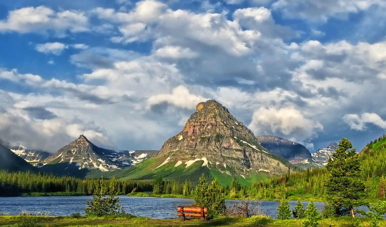 glacier, park, national, озеро, горы, облака,