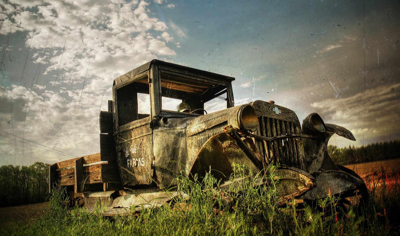 грузовик, старый, ржавый, вернуться, картинку, car, hdr, поделиться, изображения, сломан, разрешении, creative, старое, hotwalls,