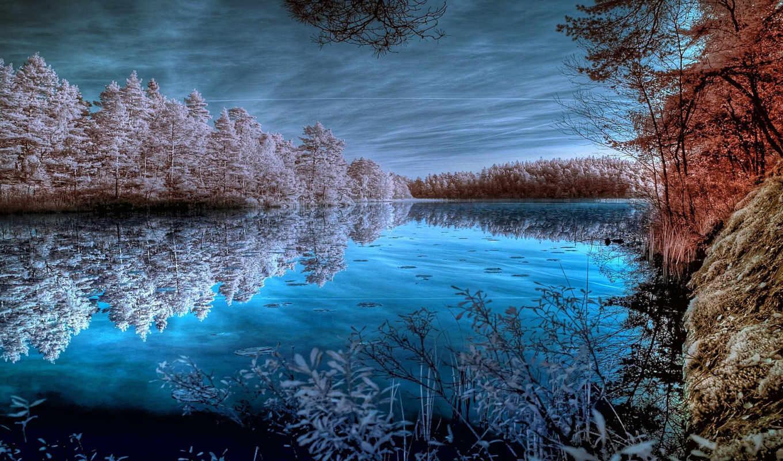 лес, река, зима, небо, вечер,