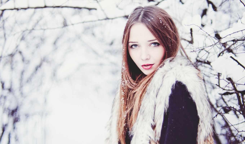 девушки, снег, зимой, winter, особенный, красивы, дек, девушка,