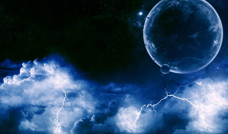 молнии, blue, тучи,