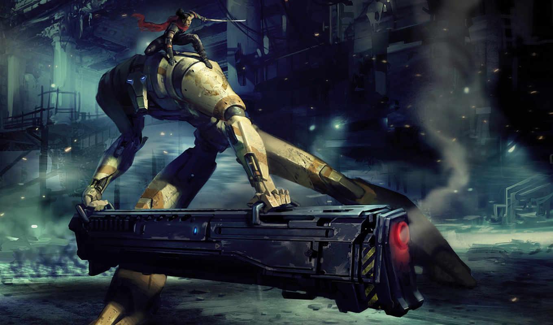 robot, девушка, art, меч, shot, пистолет, готовность,
