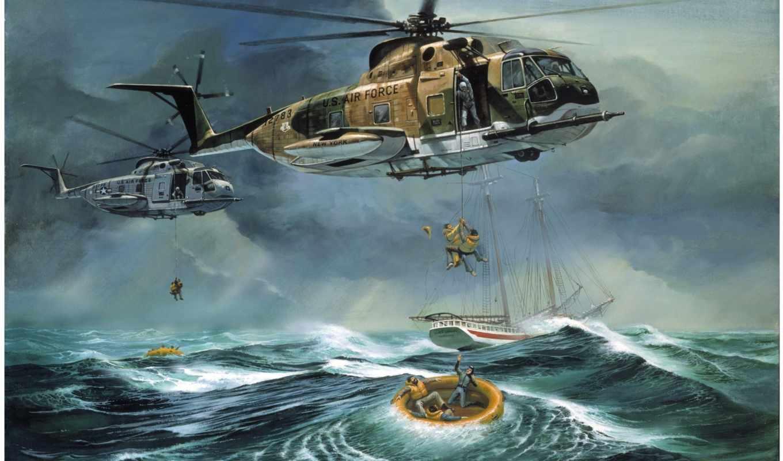 спасение, помощью, вертолета, спасательные, судов, marine, size, south, помощи,