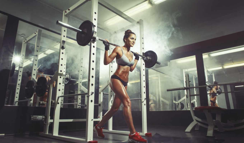 тренировки, спортзале, зале, hall, девушка, молодая, делая,