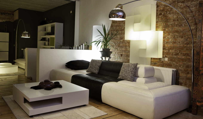 room, интерьер, living,, диван, дизайн, квартира, стиль,, светильник, стена, کا,