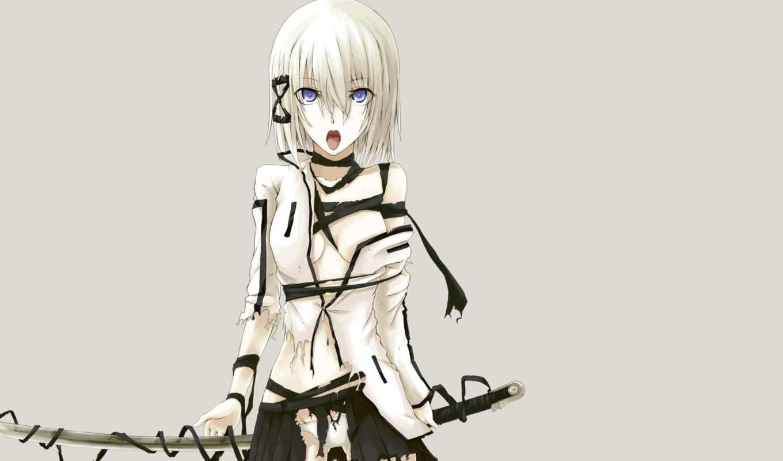 anime, blue, eyes, manga, sword, weapon, underwear, katana, panties,