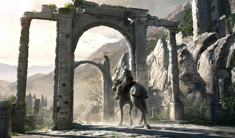 creed, assassins, всадник, руины, ворота, assassin, horse,