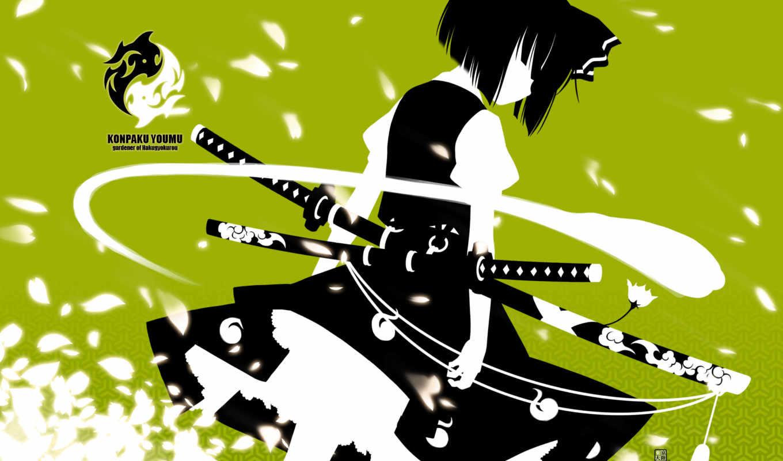 konpaku, youmu, samurai, anime, other, sword, girl, similar, hair, tags, green, grief,