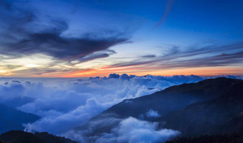 тайвань, парк, китай, национальный, горы, деревья, холмы, небо, туман, закат, дымка, вечер, картинка, облака,