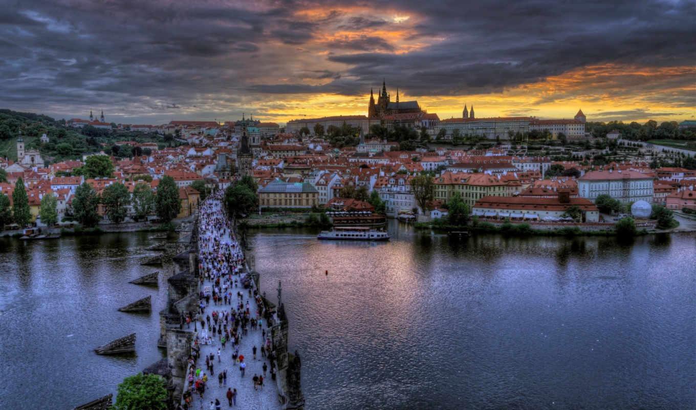 прага, чехия, мост, карлов, praha, город, река, влтава, вечер, города, люди,