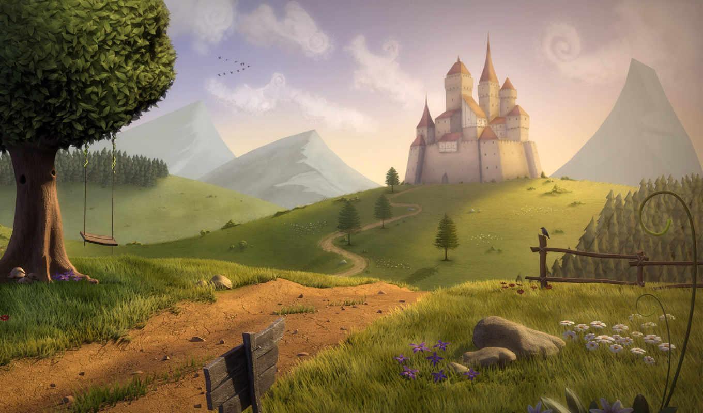 landscape, drawn, замок, холме, красивый, пейзажи -,