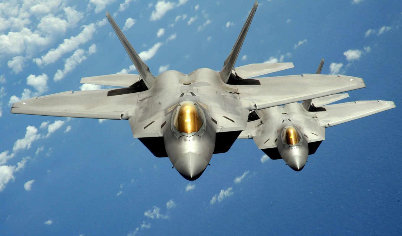 самолёт, полет, два, Boeing, F-22, Raptor,