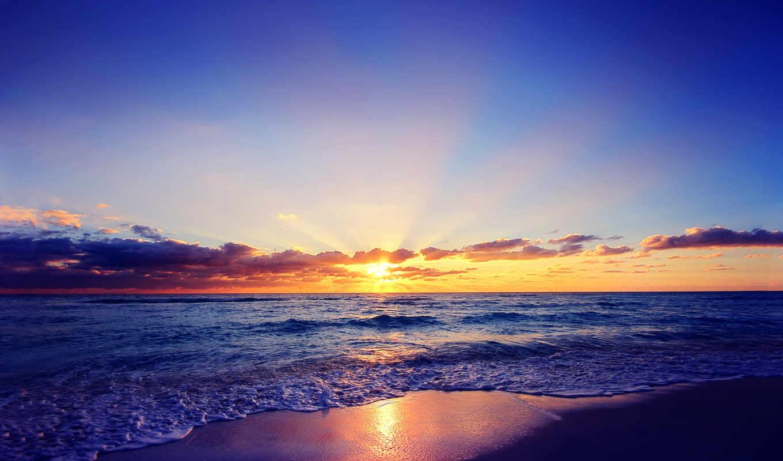 море, закат, тучи, sun, oblaka, природа, fone, берег,