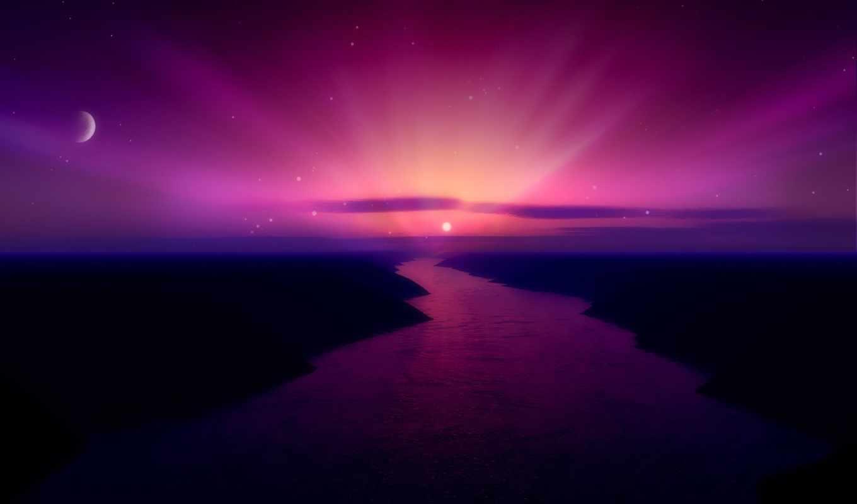 paisajes, fondos, сол, luna, pantalla, aurora,