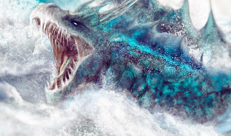 море, дракон, пасть, разинул, лед, змей, art, драконы, пене, находясь,