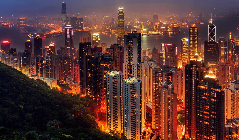 hong, kong, город, китаянка, огни,