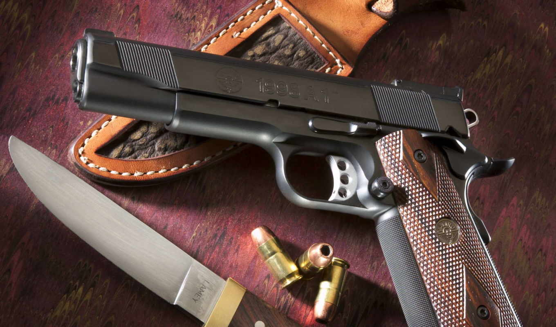 оружие, пистолет, кольт, 1998A1, нож, Lamey, ножны