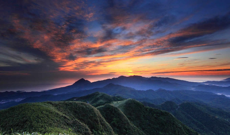 небо, закат, вечер, горы, oblaka, синее, оранжевый,