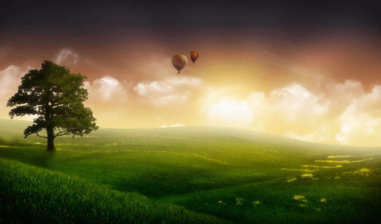 фантастика, туман, шары, небо, дерево, трава, пейзажи -, небе,