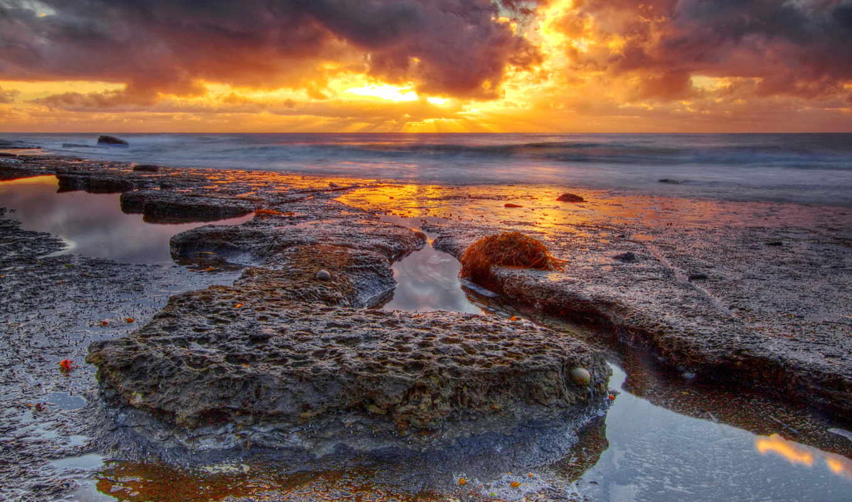 природа, небо, тучи, камни, море, скалы, закат,