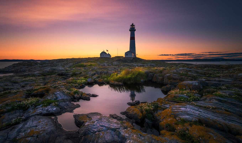 lighthouse, маяк, rock, свет, утро, небо, even, облако, тематика