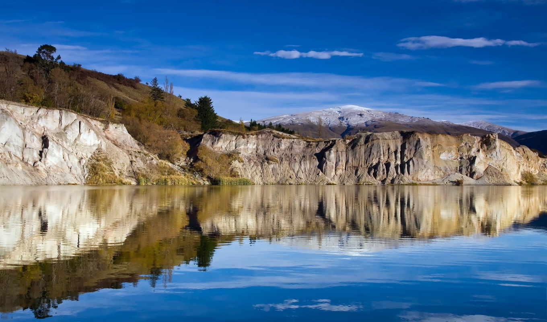 озеро, nature, desktop, новая, лес, скалы, зеландия, зеландии, новой, new, горы, водопады, голубое, island, пейзаж, free,