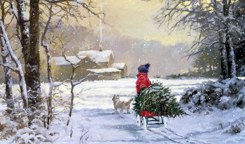 елка, christmas, ребенок, собака, зима, mac, картинка,