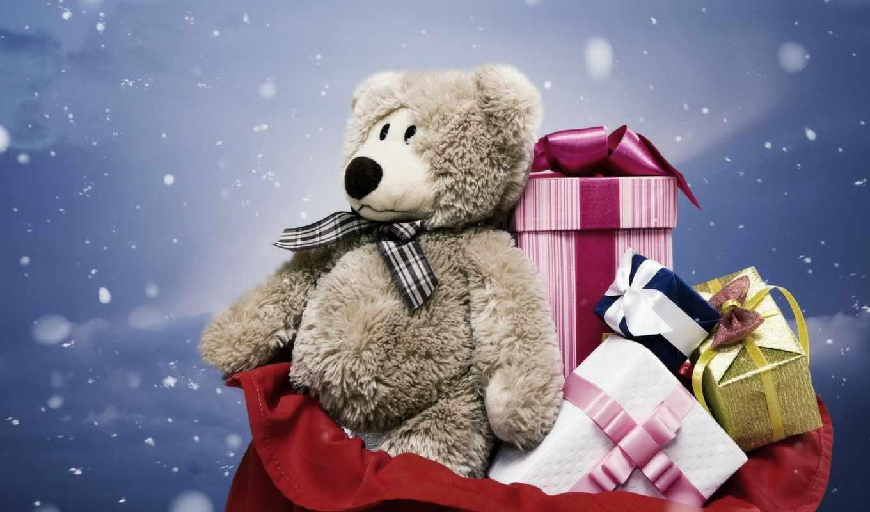 подарки, мишка, мешок, новый, год, новогодние, банты, снег, коробки, упаковки, праздник, картинка,