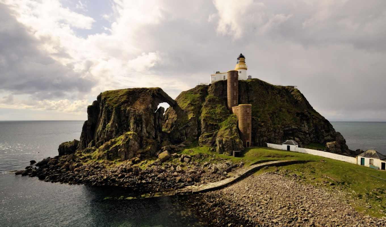 пейзаж, маяк, море, гора, картинка, картинку,