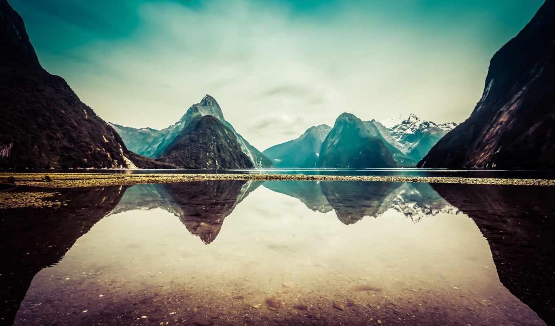 картинка, sound, milford, новая, new, zealand, озеро,
