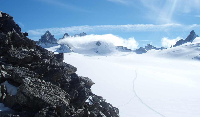горы, снежные, avalanche, природа, серые, снежная,