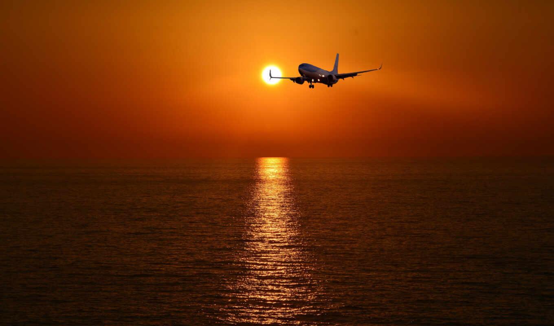 закат, plane, море, небо, картинка, авиация
