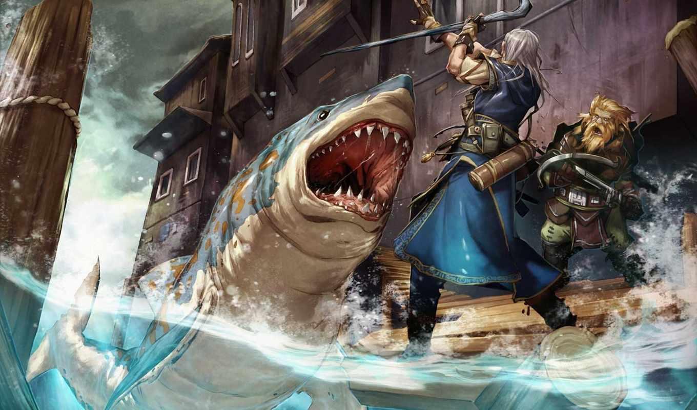 акула, вода, пасть, ситуация, опасность, бревно, гном, посох, мужик, дома, картинка, схватка, люди, картинку,