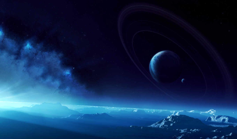 небо, кольца, планеты, поверхность, картинка,