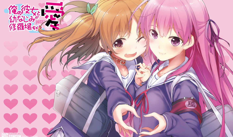 ai, fuyuumi, chiwa, hair, harusaki, shuraba, sugiru, osananajimi, kanojo, ore, girls, anime, pink, similar, with, inase, view,