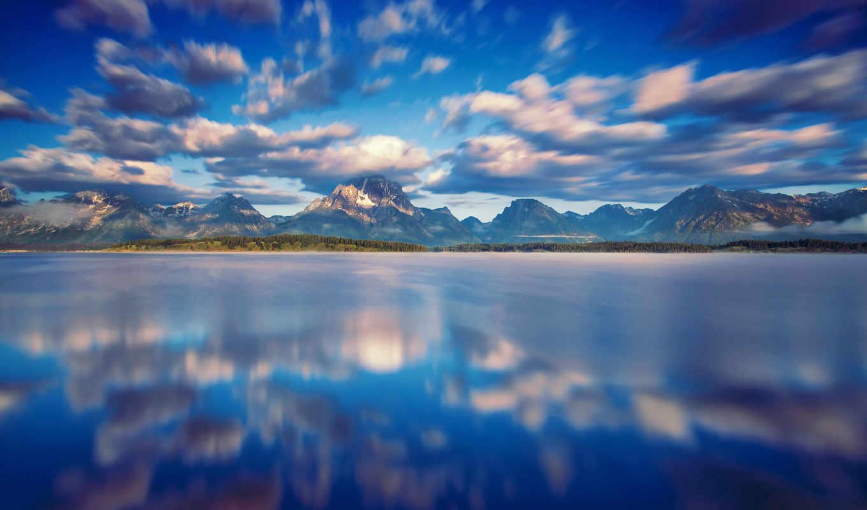 сша, штат, парк, национальный, вайоминг, природа, облака, картинка, джексон, iphone, озеро, горы,