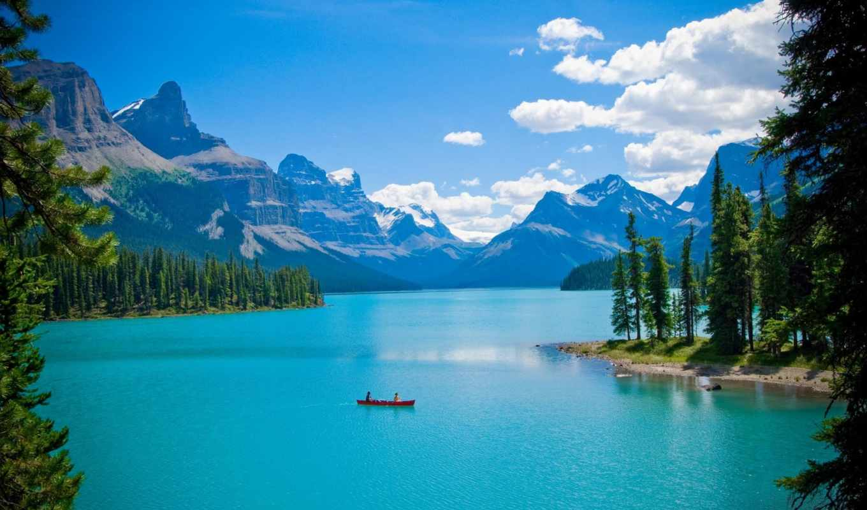 озеро, лес, горы, лодка, пейзаж, канада, деревья, картинка, фотографий, подборка,