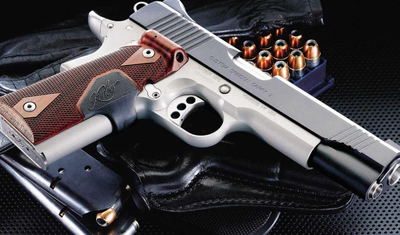 оружие, пистолет, Kimber, Custom, Crimson, Carry II, кобура, обойма, патроны