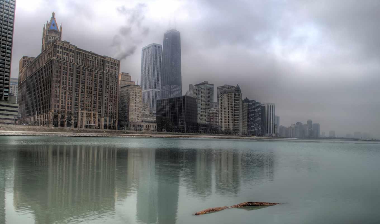 туман, chicago, здания, города, озеро, usa, небоскребы, красивые,