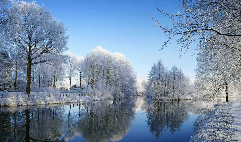 природа, снег, winter, иней, деревя, река,