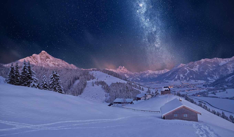 снег, ночь, winter, горы, house,