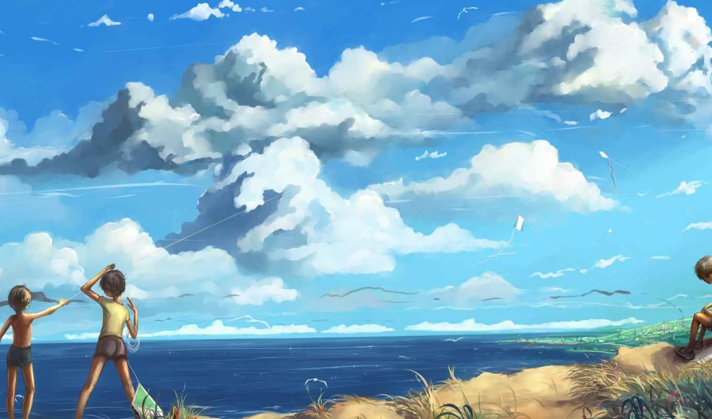 змей, aerial, море, oblaka, landscape, озеро, children,